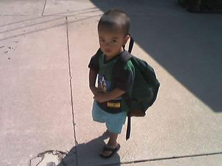 Joshua w/ Jesse's backpack…