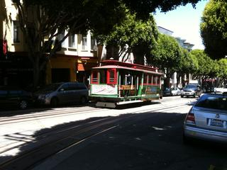 A cable car on Nob Hill