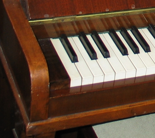The corner of a piano