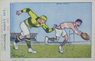 "French rugby postcard ""Les Landes Sportives"""