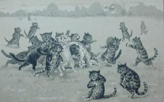 Louis Wain : cats playing rugby