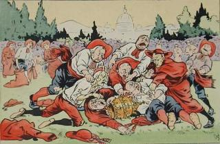 Rugby in the Vatican, French satirical postcard 1903