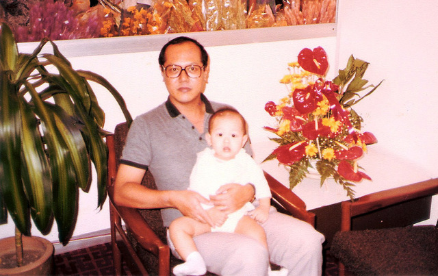 Liwei with Dad at Singapore Airport