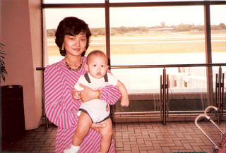 Liwei with Mum at Singapore Airport